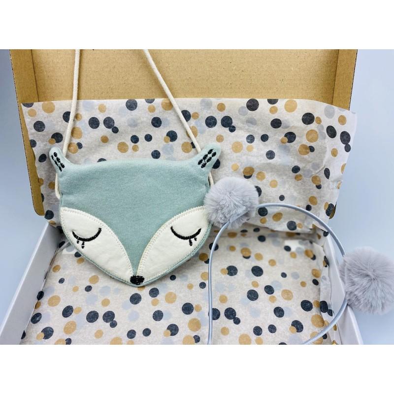 Brievenbuspakket tasje vos grijs/blauw en haarband -€10,00