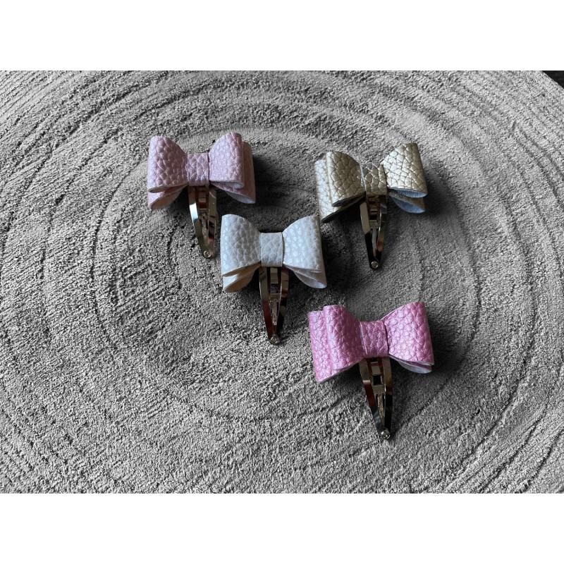 Haarstrikjes set roze/wit/beige/goud - 4 stuks -€6,50