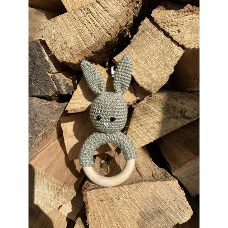 Bijtring/rammelaar konijntje, oud groen -€9,50