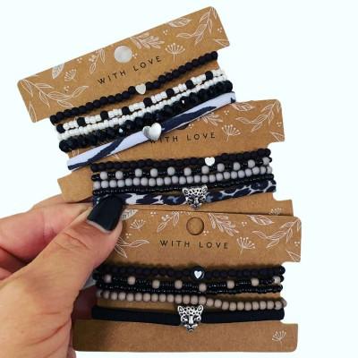 Armbandjes, set leopard grijs/zwart -€7,95