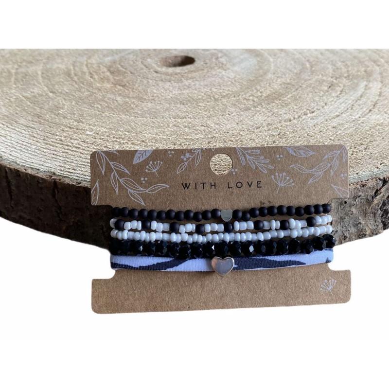 Armbandjes, set zwart/wit -€7,95