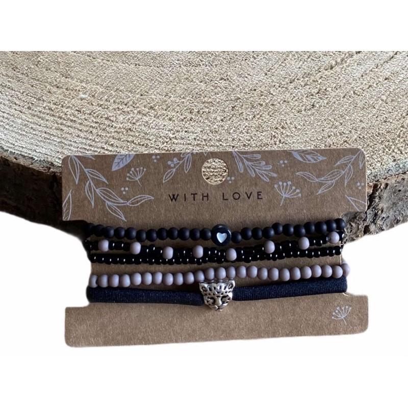 Armbandjes, set zwart/taupe -€7,95