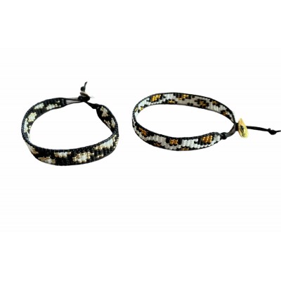 Armbandje leopard, wit/zwart (maat voor een volwassene) -€14,95